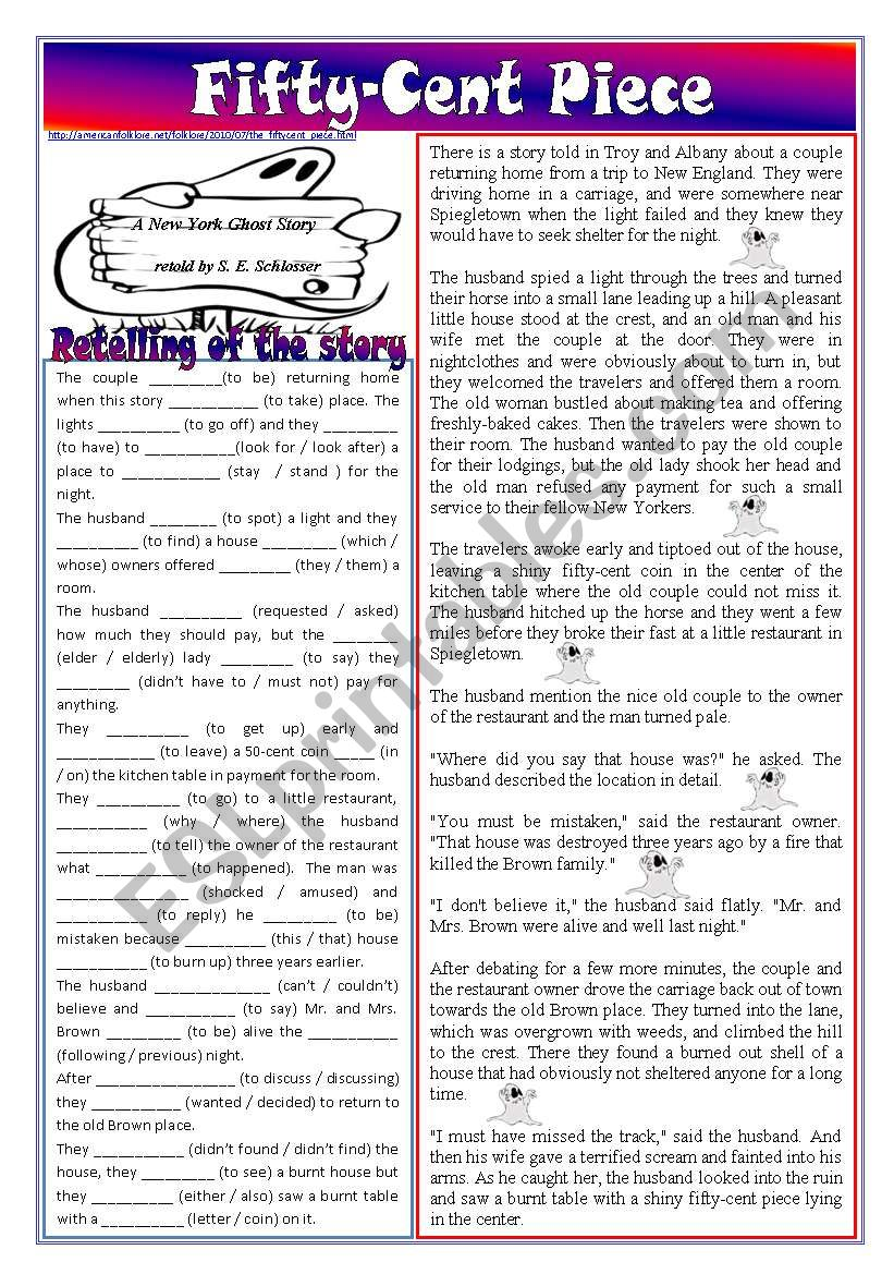 Fifty-cent piece – retelling of the story (reported speech, past simple, relative / objective pronouns, modals, etc.) *editable