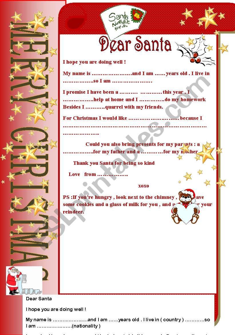 letter to santa worksheet