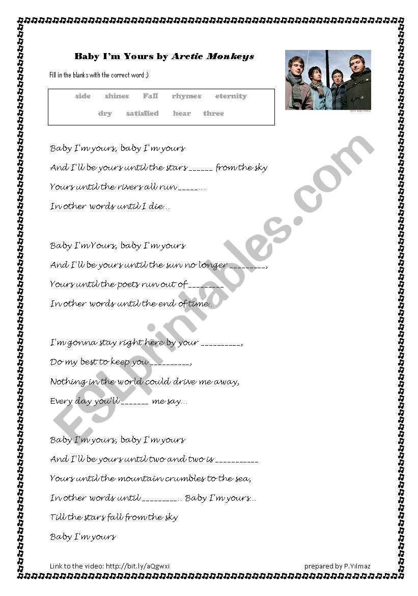 Baby I´m Yours Song Exercise worksheet