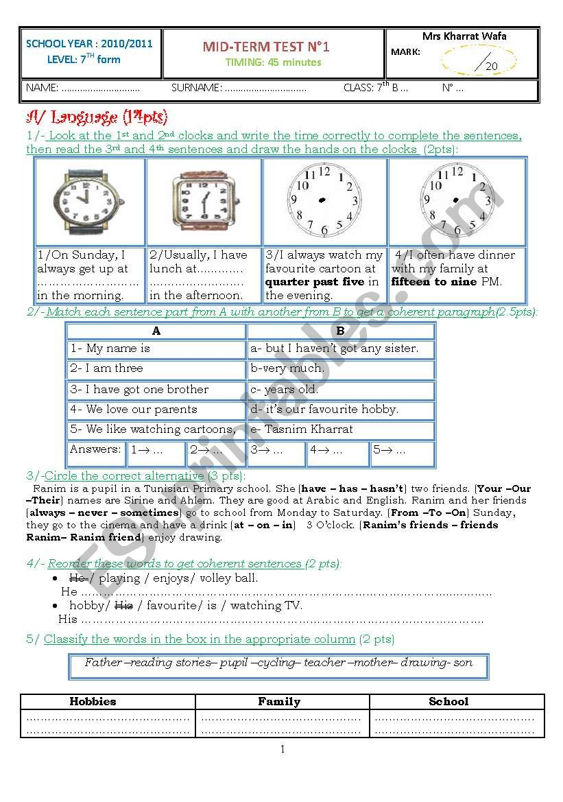 Mid-Term Test for 7th form Tunisian Students