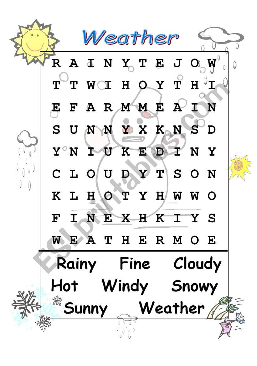weather wordsearch esl worksheet by celiamc. Black Bedroom Furniture Sets. Home Design Ideas