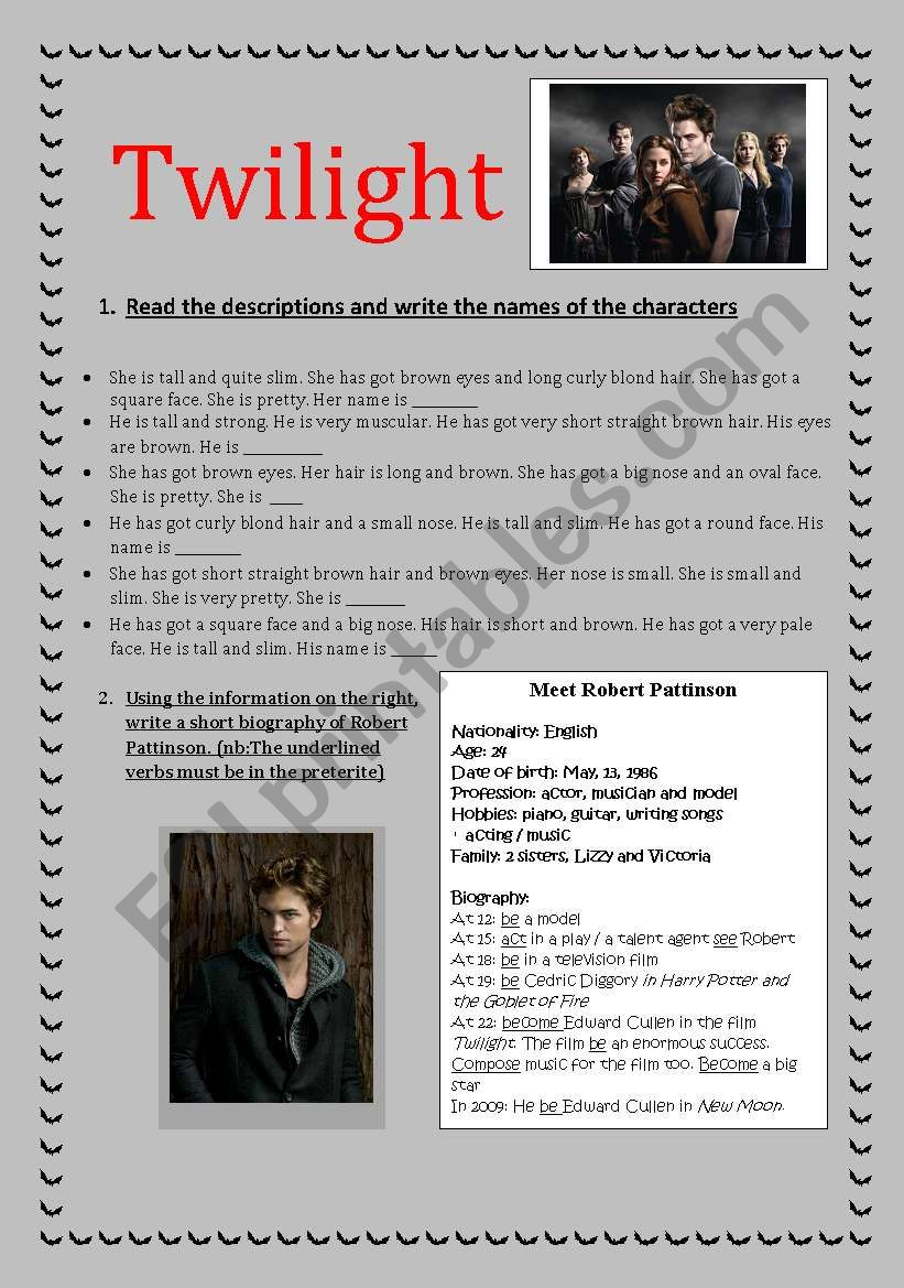 Twilight worksheet