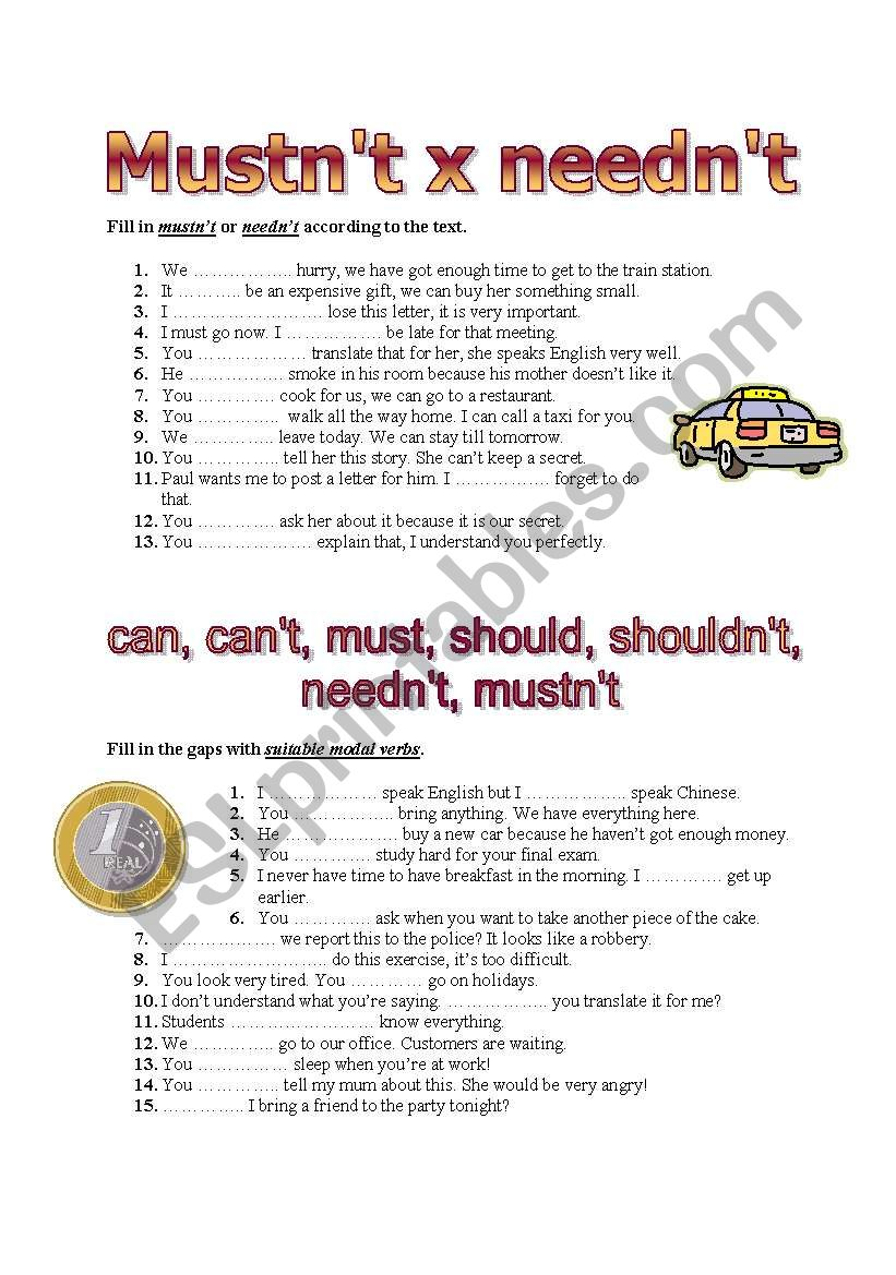 Basic modal verbs worksheet
