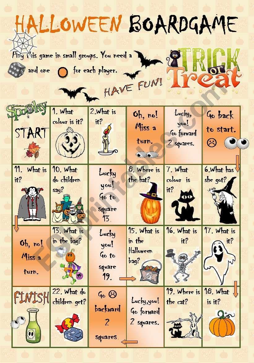 Halloween Boardgame Esl Worksheet By Szilvi