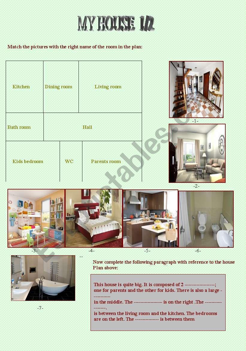 My house 1/2 worksheet