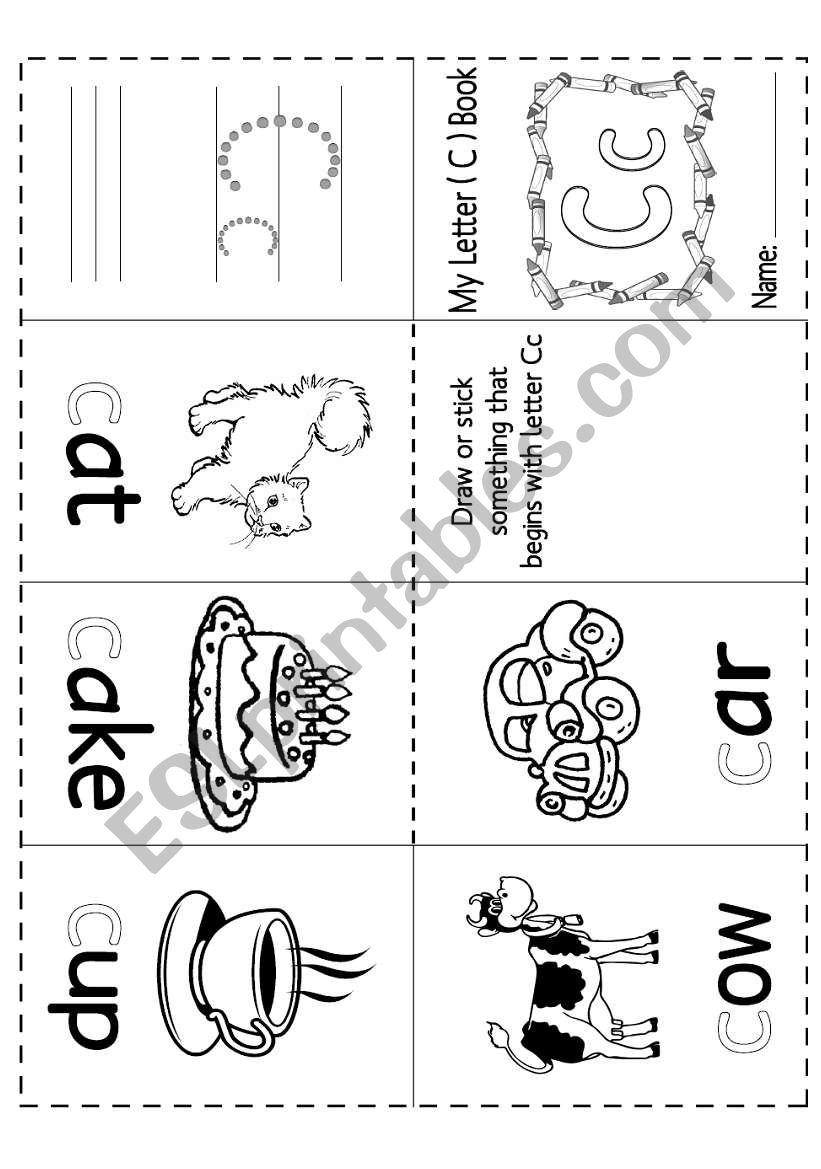 English worksheets: Letter (Cc) Mini Book