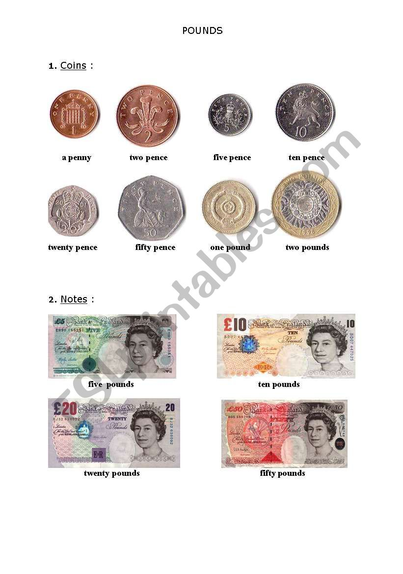the pound coins and notes esl worksheet by iwontherabbit. Black Bedroom Furniture Sets. Home Design Ideas