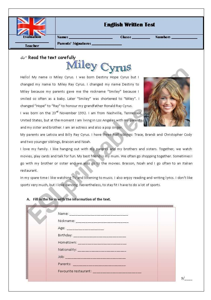 test 7th grade miley/hobbies worksheet