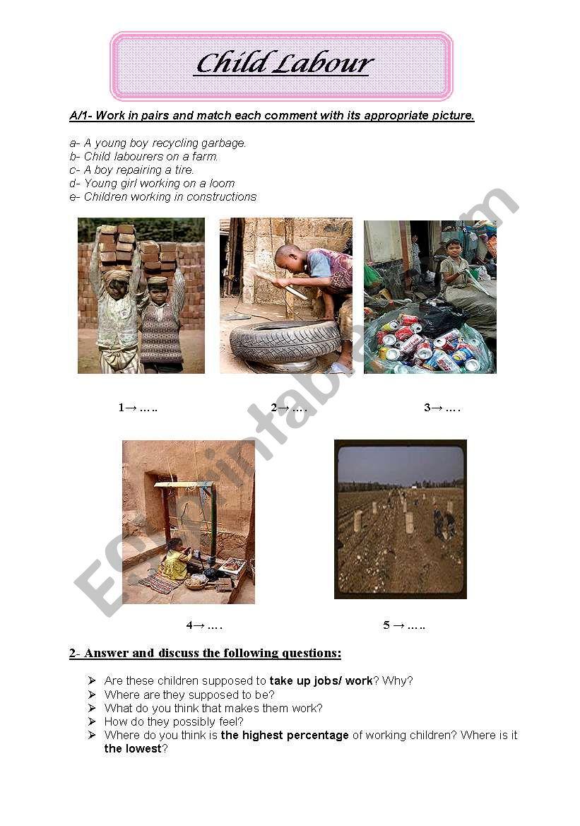 Child Labour worksheet