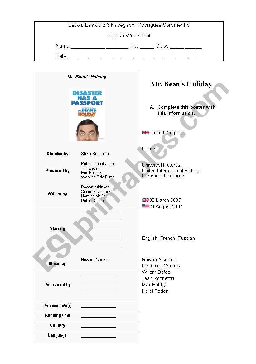 Mr Bean´s Holiday worksheet worksheet