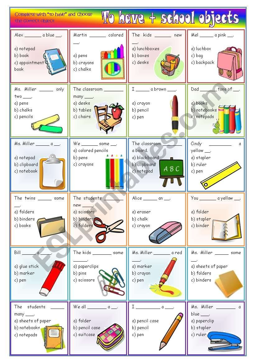To have + school objects – vocabulary and grammar activity *editable