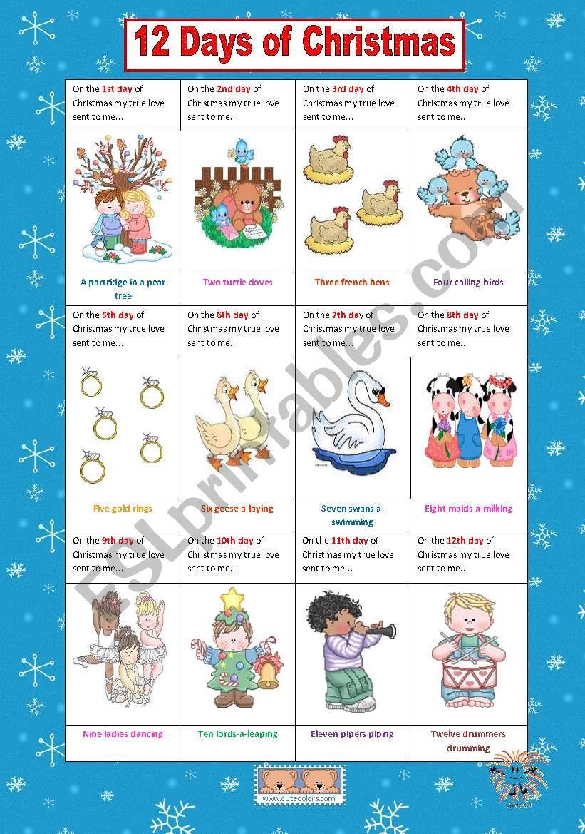 12 Days of Christmas worksheet