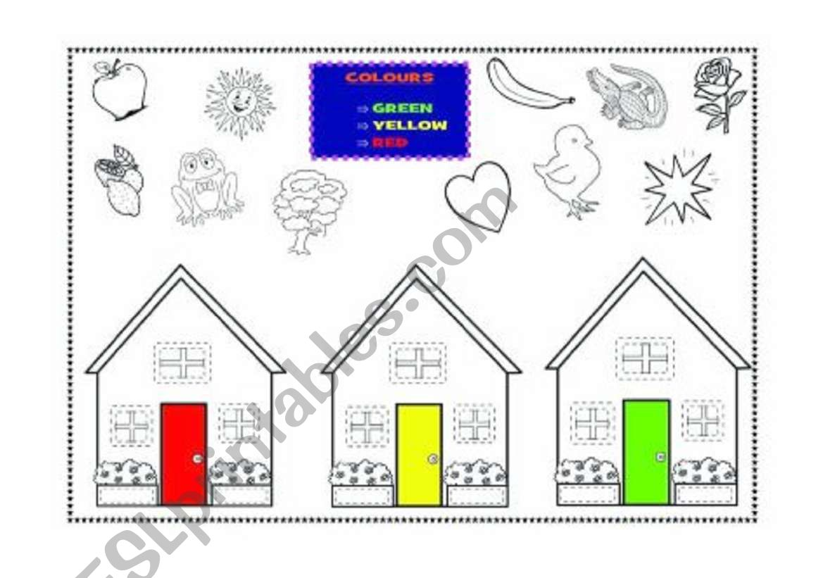 Colours - red, yellow, green worksheet