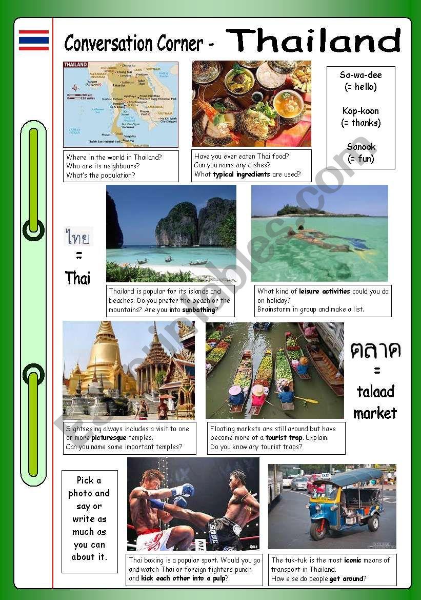 Conversation Corner: Thailand worksheet