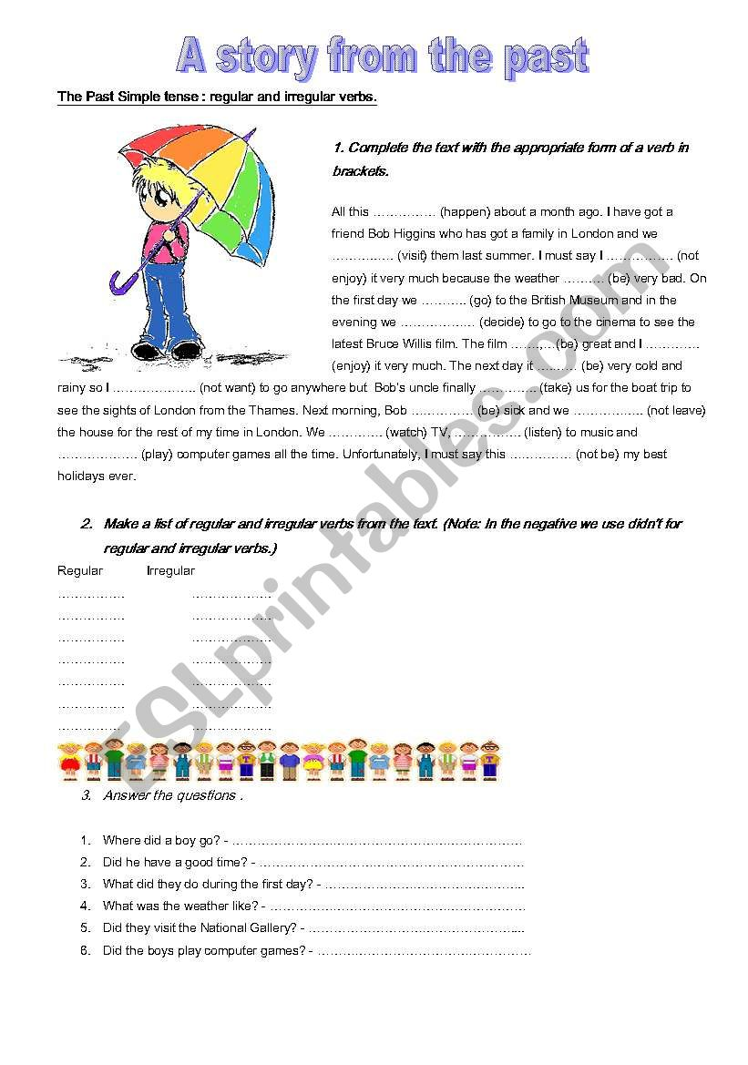 A Story In The Past Simple Tense Esl Worksheet By Anniar83
