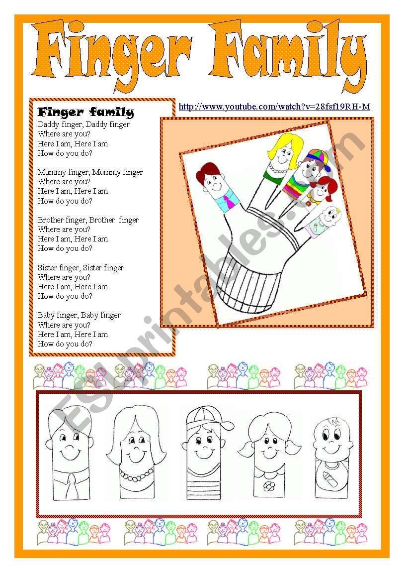 Finger Family kit worksheet