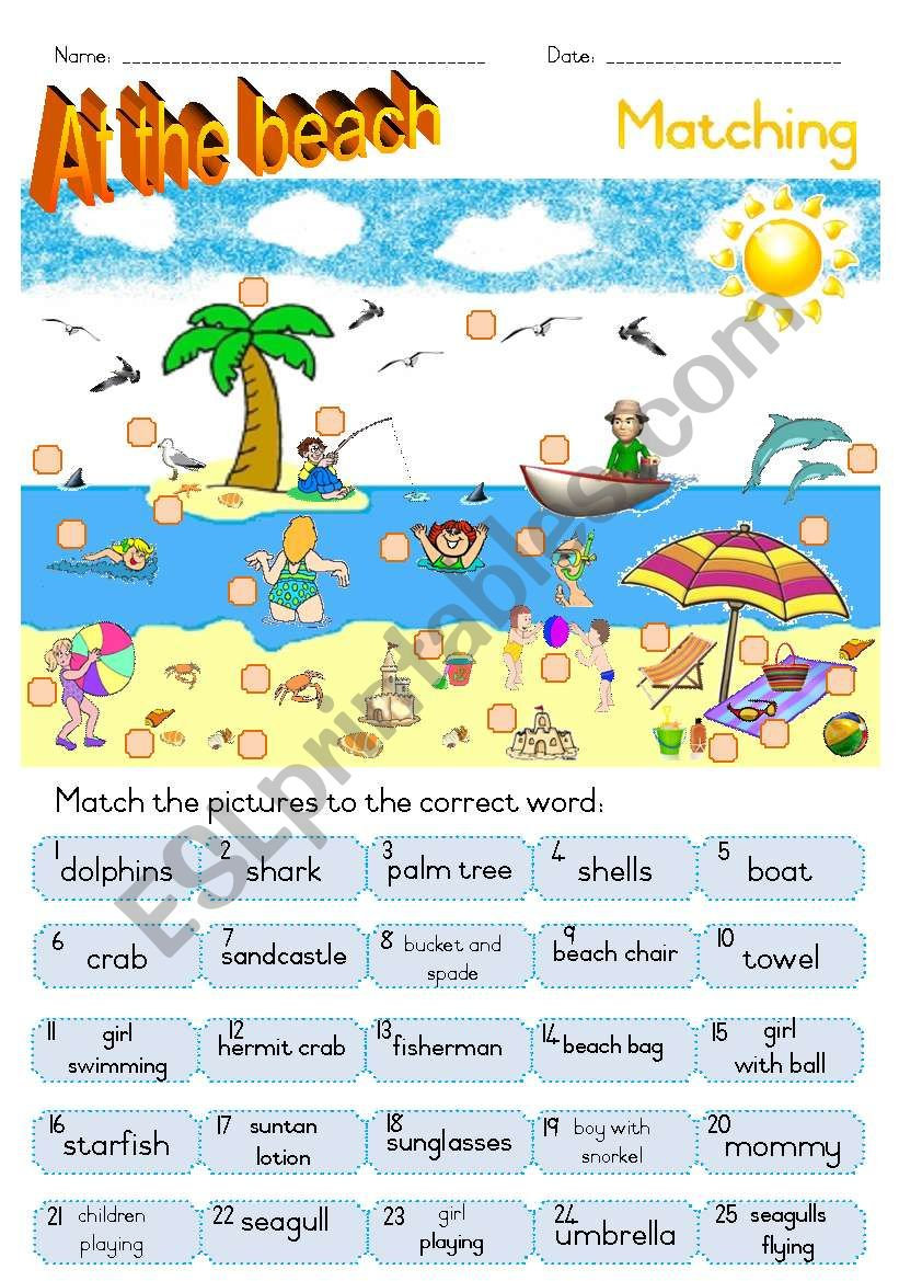 At the beach - Matching ws worksheet
