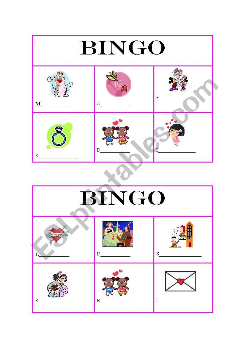 Bingo and Pictionary on St valentine´s day