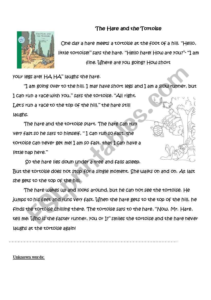 The Tortoise And The Hare Reading Questions Key Esl