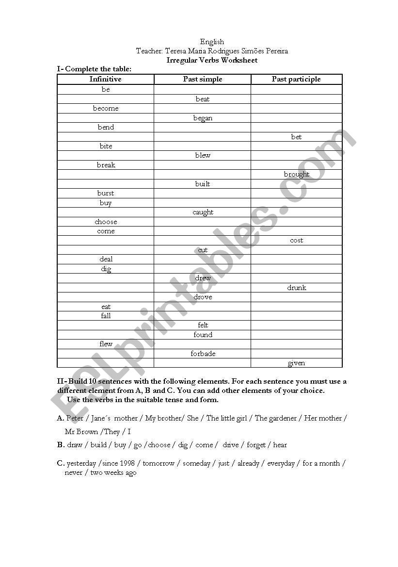 Irregular Verbs Worksheet worksheet