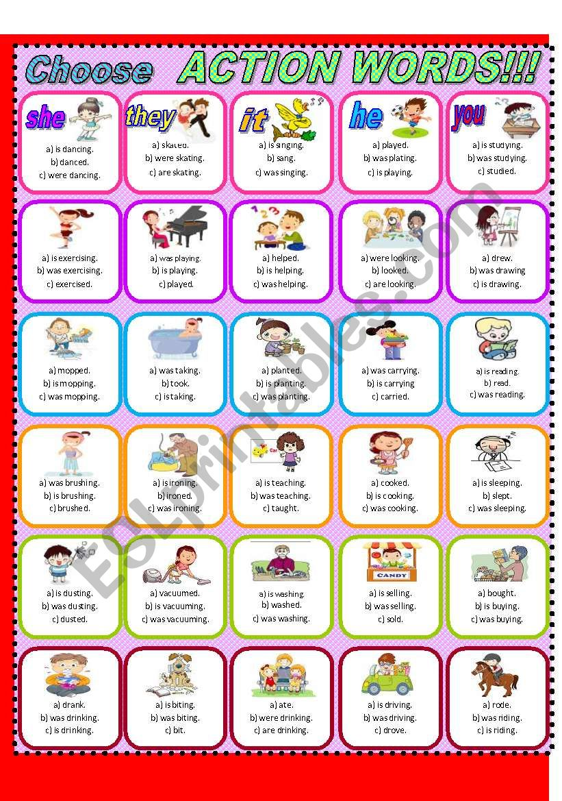 Action Words!!! worksheet