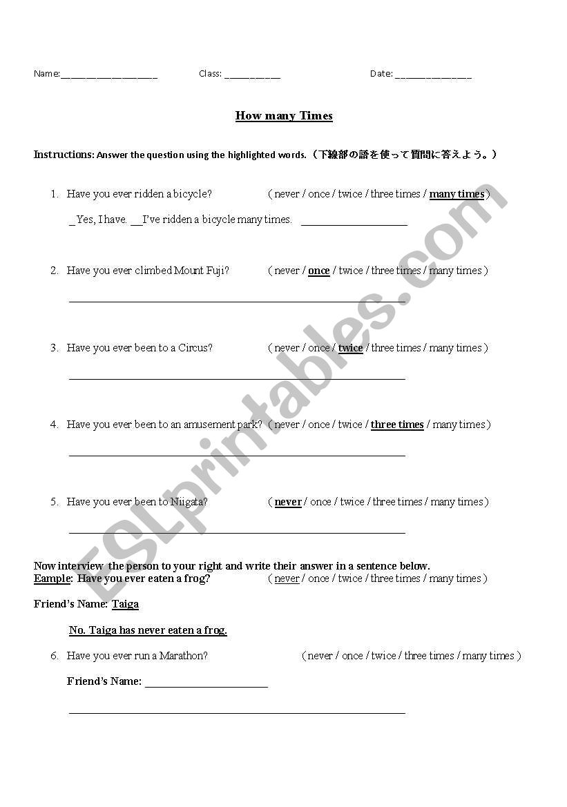 Have you ever worksheet using... never, once, twice, three times, many times