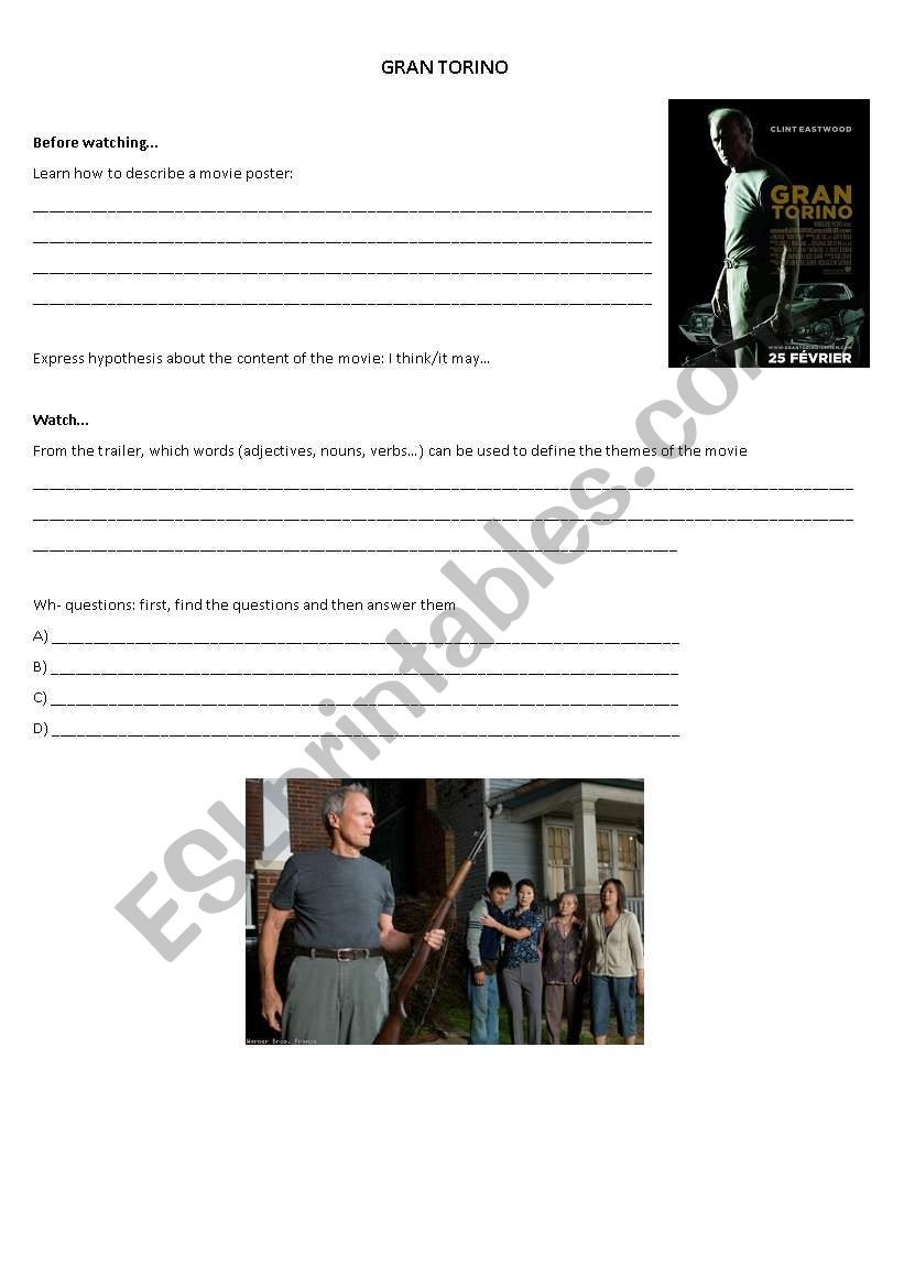 Movie Worksheet: Gran Torino - Busy Teacher