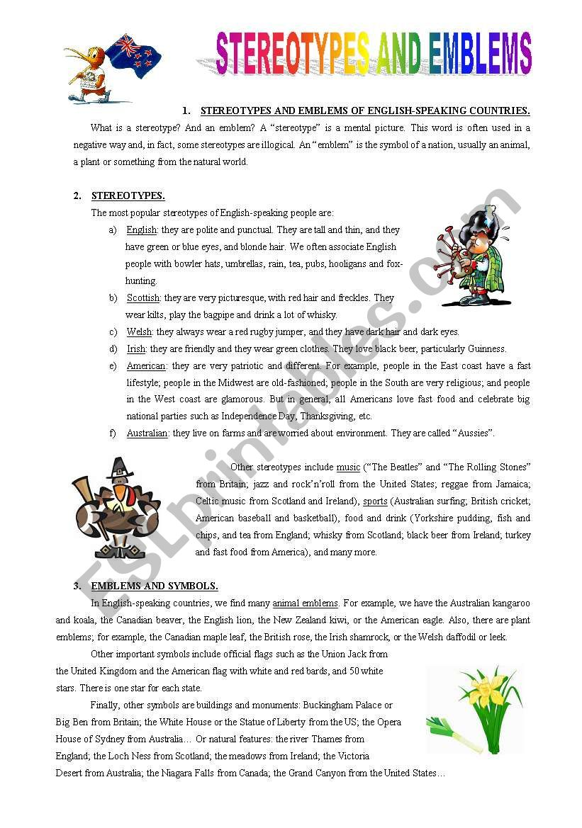 Stereotypes and emblems worksheet
