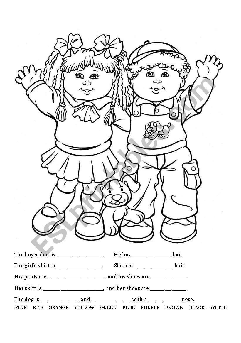 Clothing Coloring and Writing Page - ESL worksheet by Kelkelen