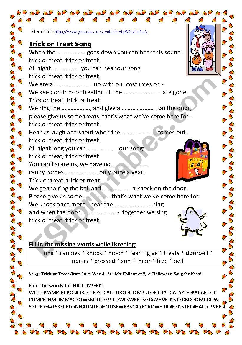 SONG: Trick or treat worksheet