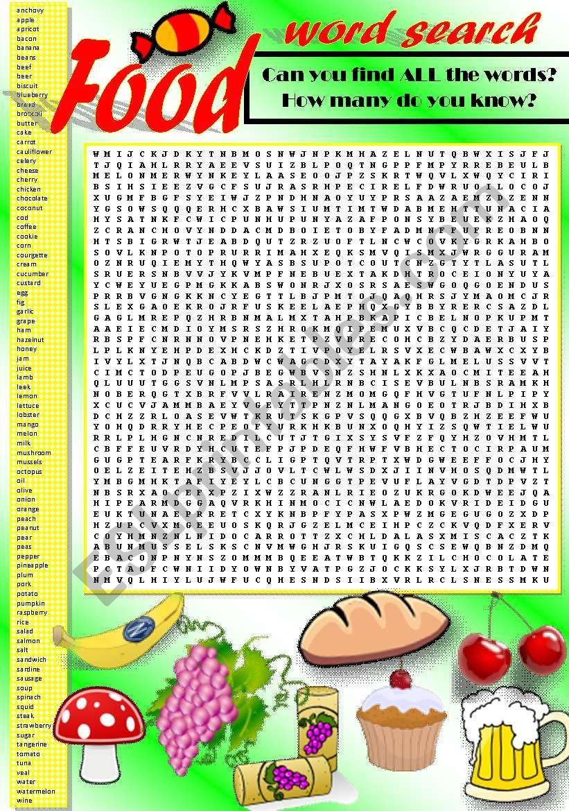 FOOD WORD SEARCH (Part I) worksheet
