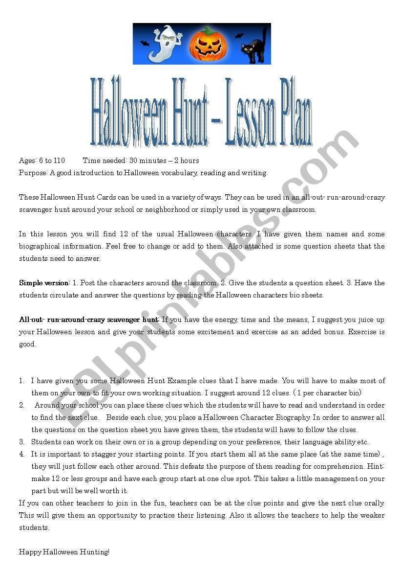 halloween hunt lesson plan 1 or 3 - esl worksheetroberge