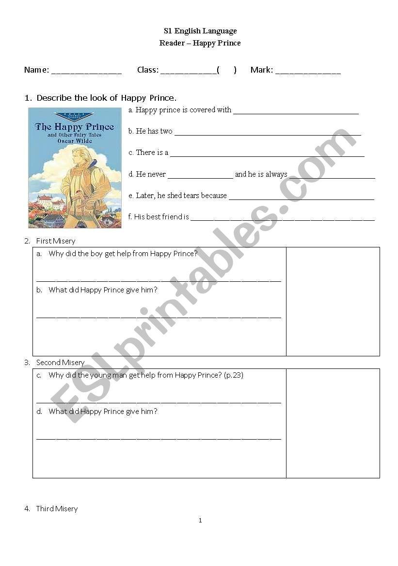 English Worksheets Happy Prince