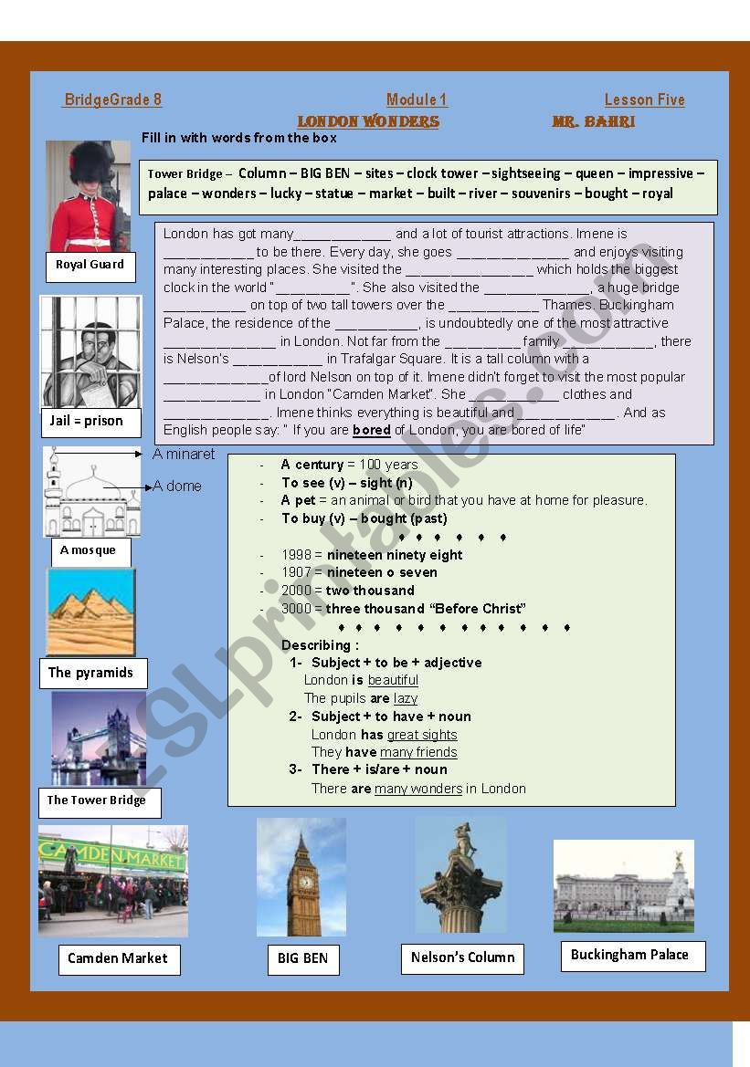 London Wonders worksheet