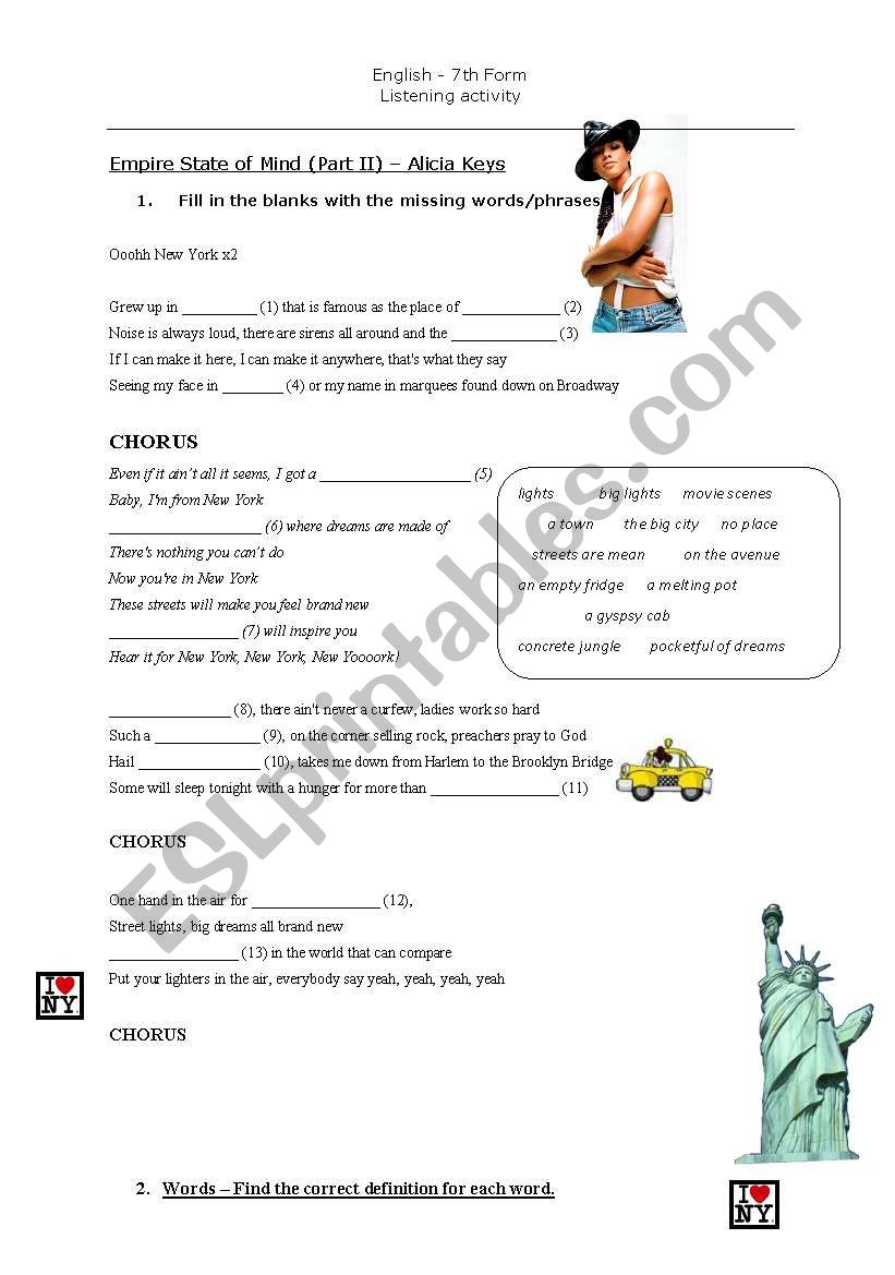 empire state of mind - esl worksheet by anaccalhoa