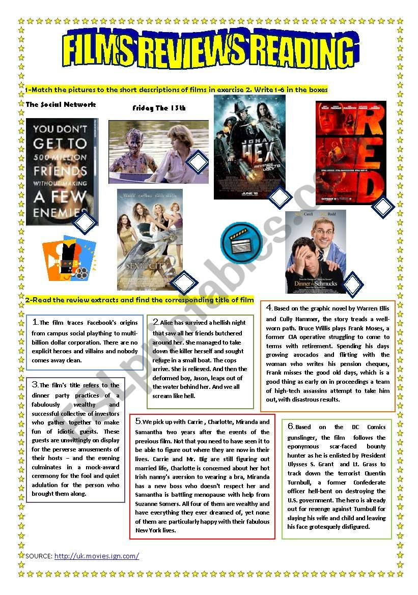 FILM REVIEWS READING + ACTIVITIES + KEY FOR TEACHERS