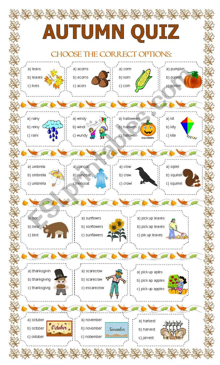 picture about Autumn Trivia for Seniors Printable named AUTUMN QUIZ - ESL worksheet by way of lupiscasu