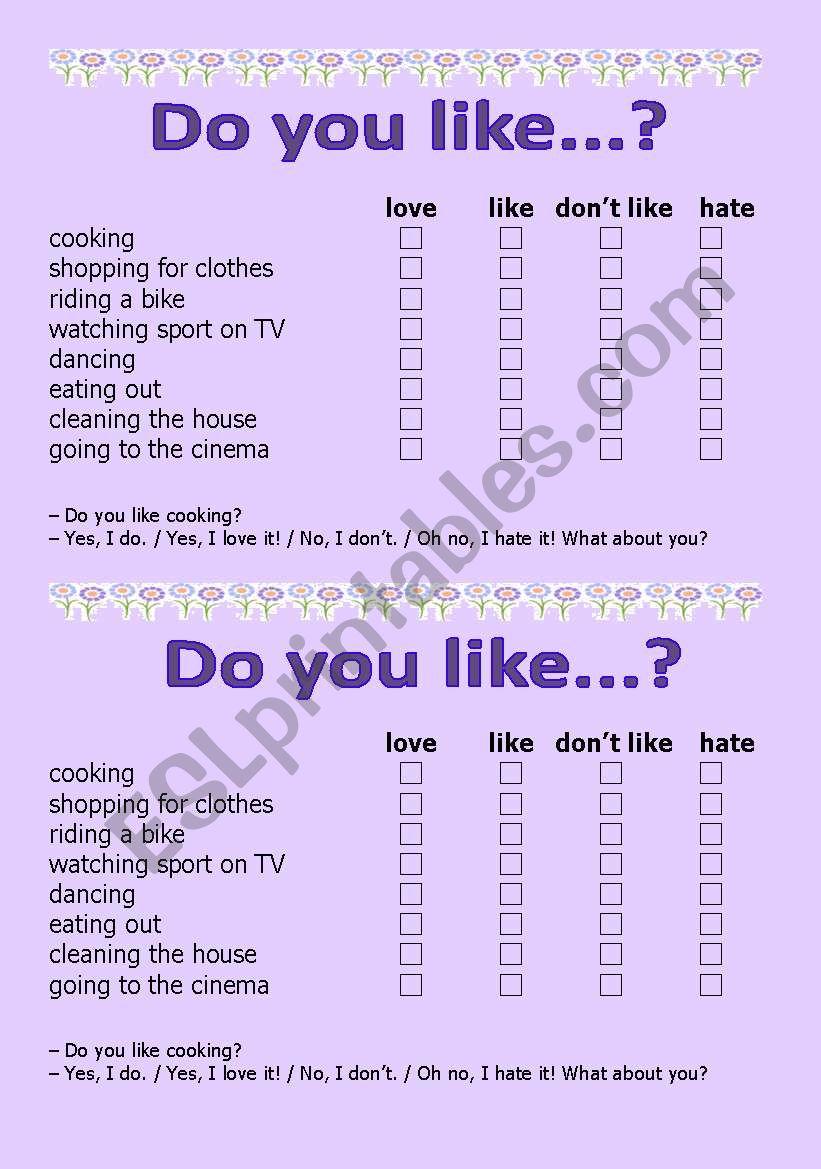 Do you like...? worksheet