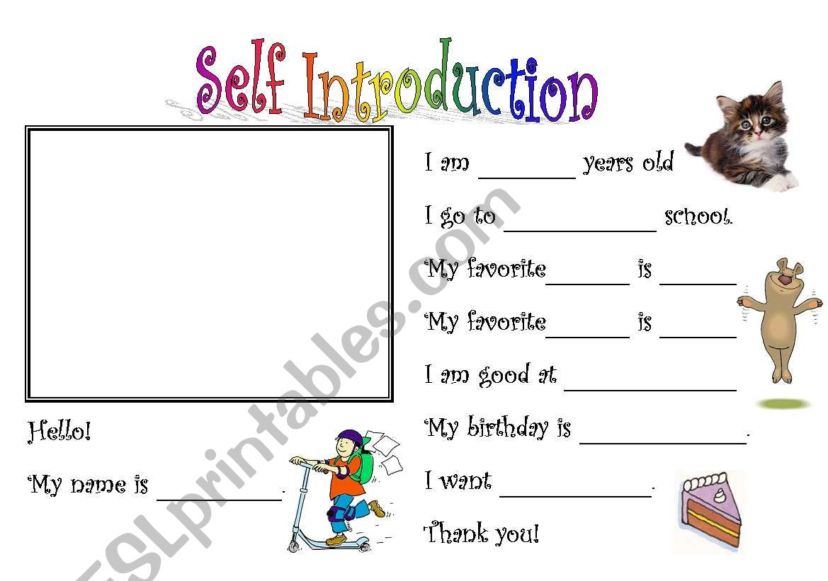 Self- Introduction 1 - ESL worksheet by jmchung