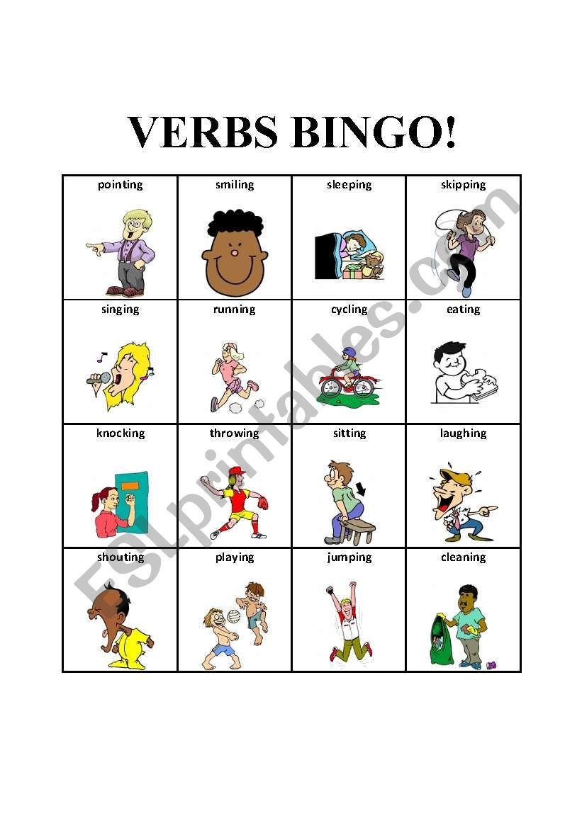 English worksheets: Verbs Bingo