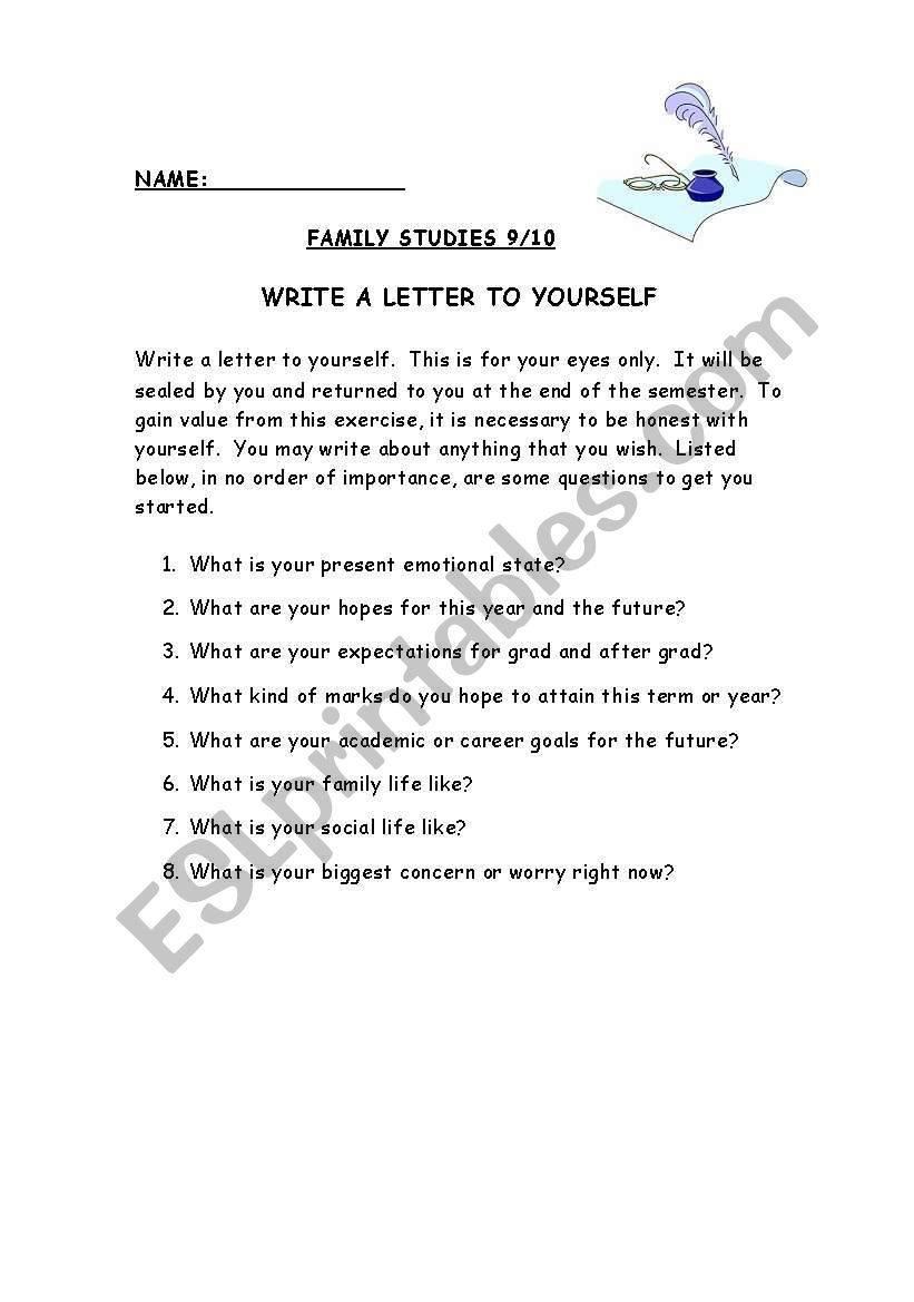 English Worksheets Write A Letter To Yourself