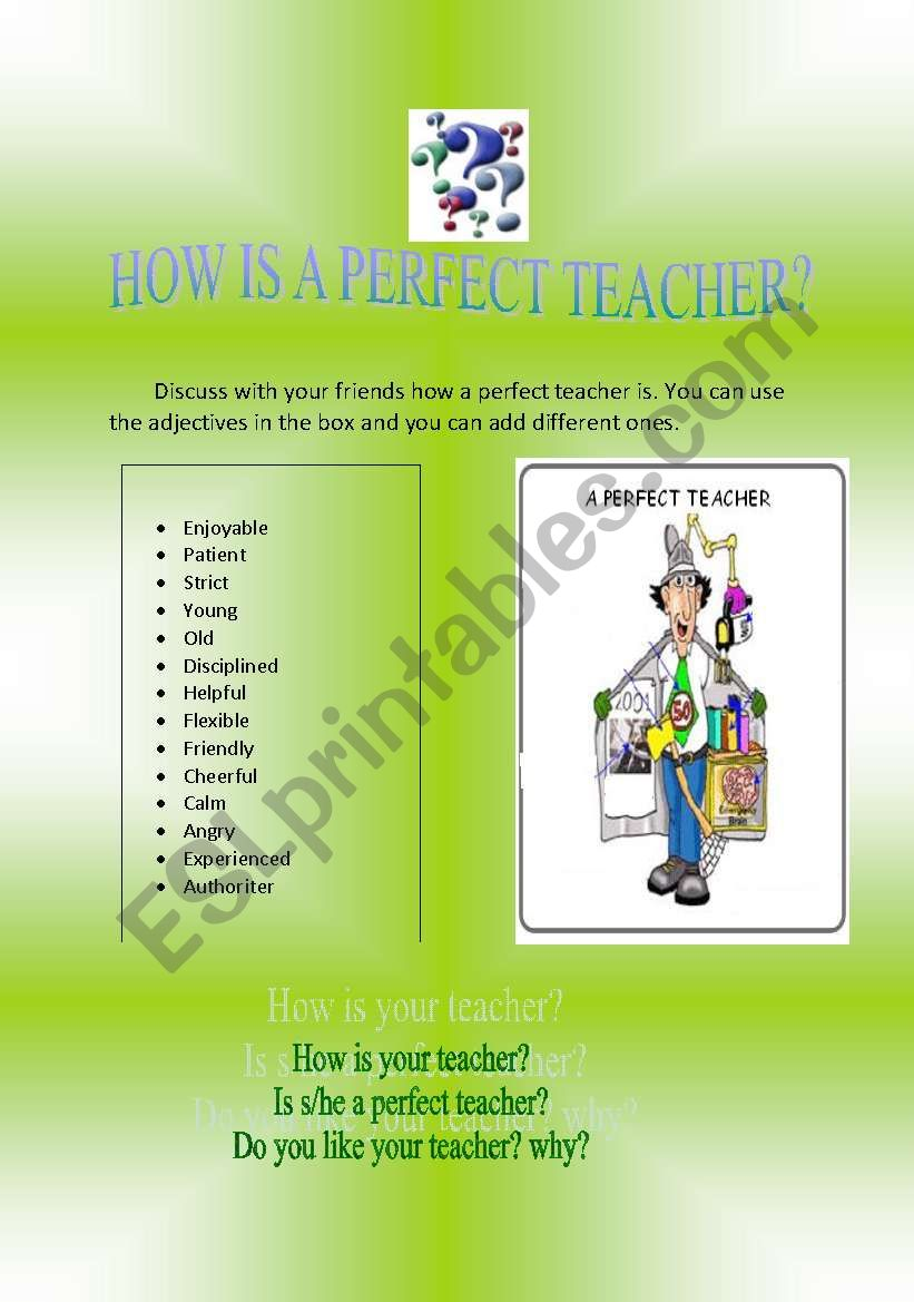 HOW IS A PERFECT TEACHER? worksheet