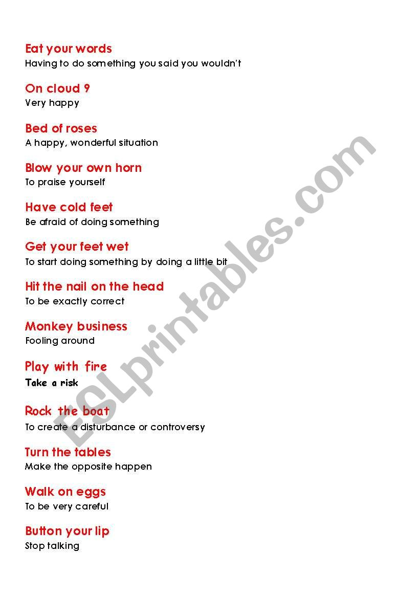 Eat Your Words - Idioms - ESL worksheet by rvmlfltj