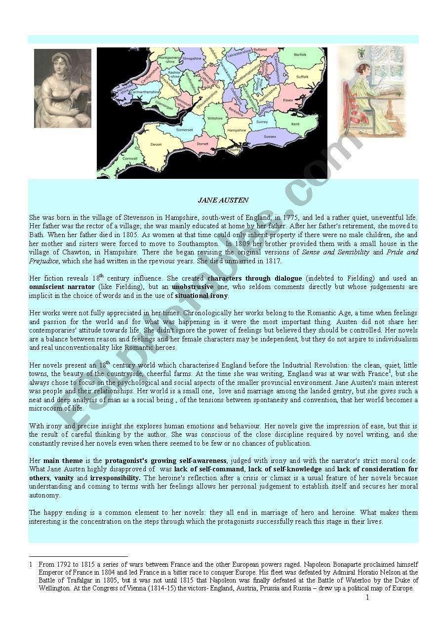 LESSON: JANE AUSTEN worksheet