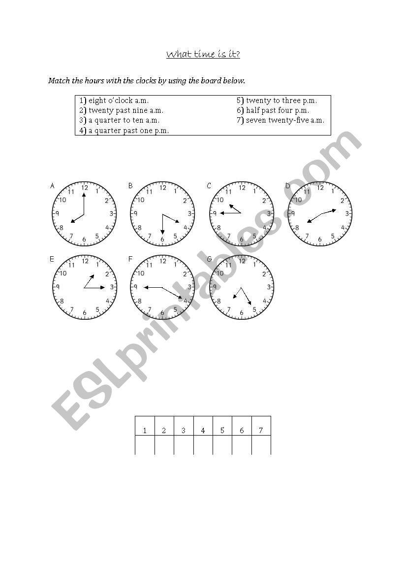Telling the time (matching) worksheet