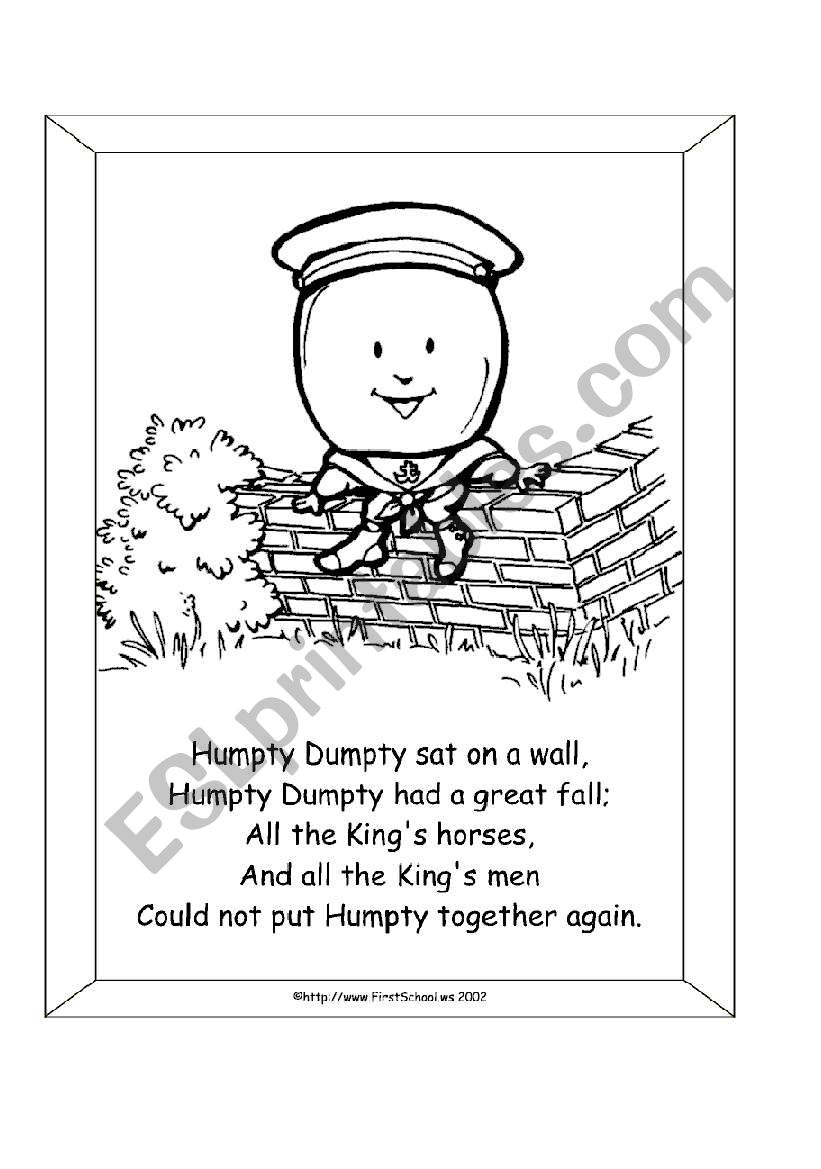Humpty Dumpty worksheet