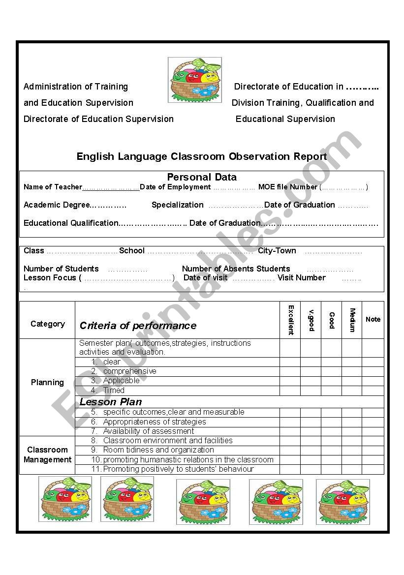 English Language Classroom Observation Report Esl Worksheet By Youness
