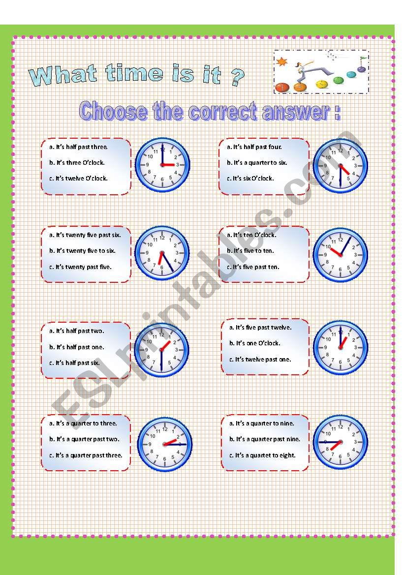 what time is it multiple choice esl worksheet by lilly of the valley. Black Bedroom Furniture Sets. Home Design Ideas