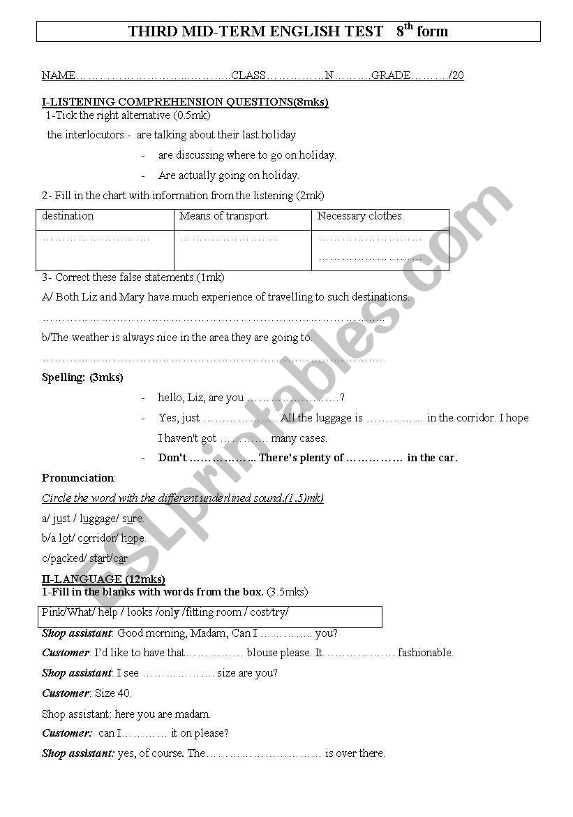 third mid term test worksheet