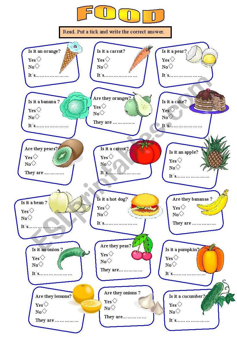 Revision food worksheet